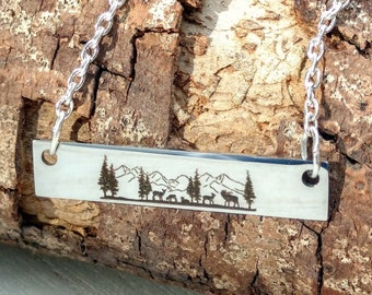 Mountain Necklace, Mountain Choker, Tree Necklace, Tree Choker, Outdoorsy Necklace,