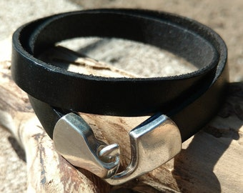 Leather Wrap Bracelet with Hook Clasp