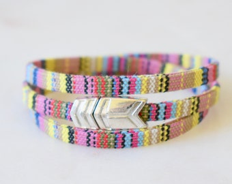 Cotton Bracelet, Guatemalan Cotton Cord Bracelet, Colorful Wrap Bracelet, Cotton Wrap Bracelet, Triple Wrap Bracelet Magnetic Clasp