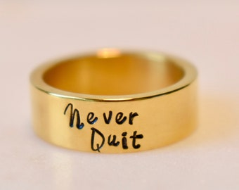 Never Quit Ring, Wide Band, Unisex, Stainless Steel Gold or Silver