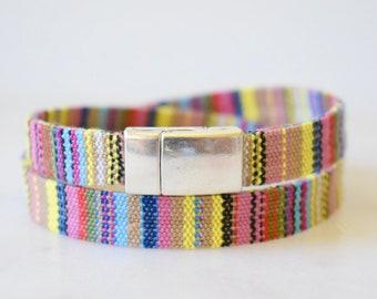Cotton Bracelet, Guatemalan Cotton Cord Bracelet, Colorful Wrap Bracelet, Cotton Wrap Bracelet, Wrap Bracelet Magnetic Clasp