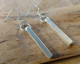 Antique Silver Bar Earrings or Brass Bar Pendant Earrings, Sterling Silver Hooks