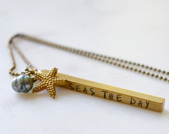 Seas The Day Necklace, Bar Pendant Necklace, Beachy Necklace, Skinny Bar Necklace
