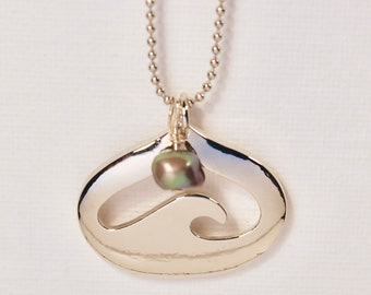 Silver Heart Wave Pendant Necklace with Blue Pearl
