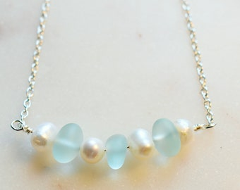 Blue Sea Glass Choker, Beach Glass and Pearl Choker