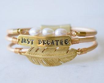 Just Breathe Bracelet, Feather Bracelet, Custom Pearl Bracelet, Leather Feather Bracelet, Pearl and Feather Bracelet