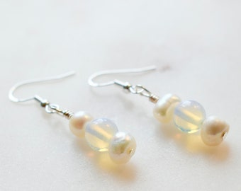 Moonstone Earrings, Moonstone and Pearl Earrings, Sterling Silver Hooks, Wedding Earrings, Gemstone Earrings, June Birthstone Earrings