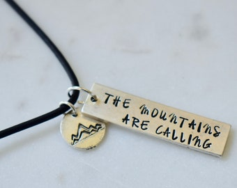 The Mountains Are Calling Antique Silver Necklace, Hand-stamped, Mountain Necklace, Outdoors Necklace, Adventure Necklace