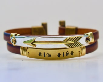 Aim High Bracelet, Handmade Leather Bracelet, Hand Stamped Bracelet, Arrow Bracelet