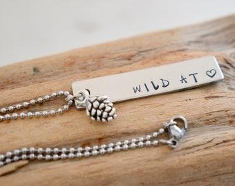 Wild At Heart Necklace, Wild Heart Necklace, Wild Necklace, Hiking Necklace, Outdoors Necklace, Adventure Necklace, Wanderlust Necklace