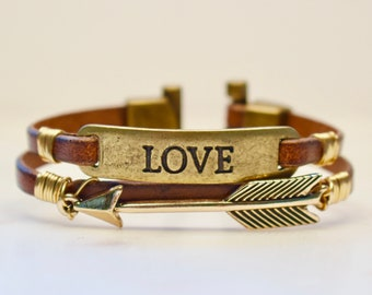Love Bracelet, Arrow Bracelet, Leather Love Bracelet, Gift for Her