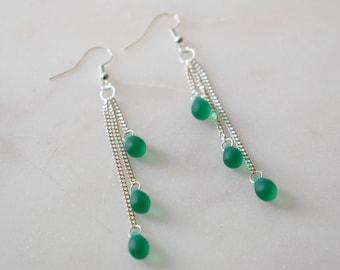 Forest Green Cascade Earrings, Emerald Green Cascade Earrings, Green Glass Earrings, Forest Green Earrings, Emerald Green Earrings