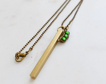 Personalized Peas In A Pod Solid Brass Bar Necklace, Necklace for Mom, Skinny Bar Necklace