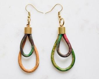Tie Dye Leather Earrings, Tie Dye Earrings, Rainbow Earrings, Rainbow Leather Earrings, Boho Earrings, Festival Earrings