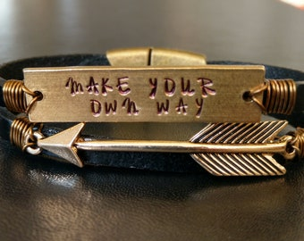 Make Your Own Way Leather Bracelet