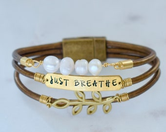 Just Breathe Bracelet, Just Breathe, Leather Bracelet for Her, Personalized Bracelet, Custom Bracelet, Mantra Bracelet, Magnetic Clasp