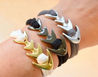 Fish Bracelet, Elastic Bracelet, Fish Clasp Bracelet, Custom Bracelet, Fish Bone Jewelry