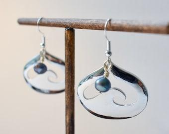 Wave Earrings, Wave Heart Earrings, Blue Pearl Earrings, Sterling Silver Hooks, Surfer Earrings, Ocean Earrings, Beach Earrings