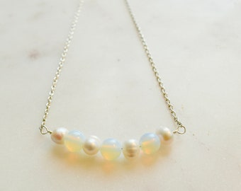 Moonstone and Pearl Choker, Moonstone Necklace, Bridesmaid Necklace, Wedding Necklace