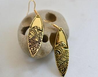 Surfboard Earrings, Surfer Earrings, Ocean Earrings, Hawaiian Earrings, Polynesian Earrings, Paddle Board Earrings