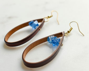 Leather and Glass Earrings, Leather Earrings with Blue Glass, Minimalist Earrings, Blue Glass Earrings, Brown Leather Earrings