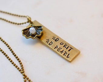 No Grit No Pearl Necklace, Inspirational Necklace, Bar Necklace,