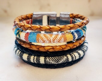 Ethnic Fabric Cord Bracelet, Colorful Leather Bracelet Magnetic Clasp