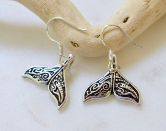 Whale Tail Earrings, Tail Earrings, Fish Earrings, Dolphin Tail Earrings, Polynesian Earrings, Hawaii Earrings, Sterling Silver Hooks