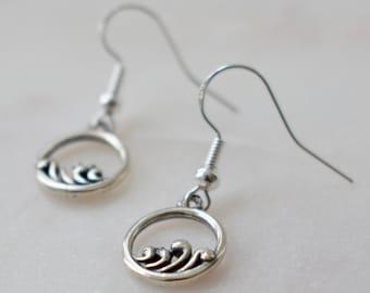 Sterling Silver Wave Earrings, Ocean Earrings, Wave Jewelry, Abstract Waves, Wave Earrings