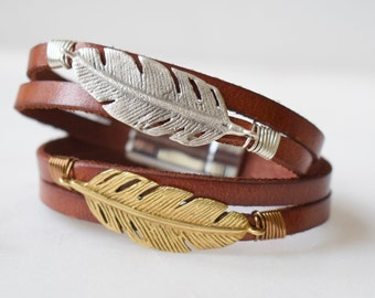 Leather and Feather Bracelet, Magnetic Clasp, Leather Cuff Bracelet, Feather Cuff Bracelet, Silver Feather Bracelet, Gold Feather Bracelet