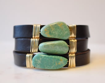 Leather And Repurposed Turquoise Infinity Wrap Bracelet, Turquoise Wrap Bracelet, Leather and Turquoise Bracelet