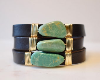 Leather And Repurposed Turquoise Infinity Wrap Bracelet, Turquoise Bracelet, Turquoise Wrap Bracelet, Leather and Turquoise Bracelet
