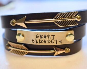 Custom Triple Wrap Arrow Infinity Bracelet, Personalized Leather Bracelet, Nameplate Bracelet, Custom Infinity Bracelet