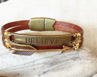 Believe Bracelet, Believe Leather Bracelet, Magnetic Clasp, Inspirational Bracelet