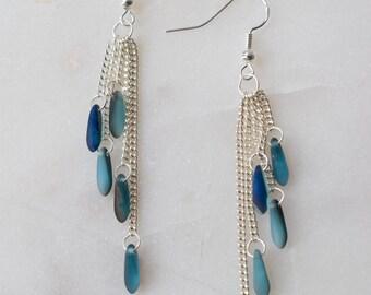 Turquoise Blue Cascade Earrings, Blue Cascade Earrings, Sterling Silver Cascade Earrings
