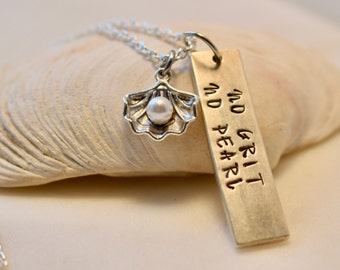 No Grit No Pearl Necklace, Inspirational Necklace, Necklace for Her