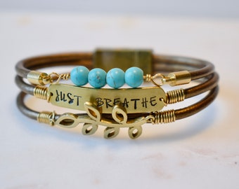 Just Breathe Bracelet, Leather and Turquoise Bracelet, Turquoise Bracelet, Leather and Pearl Bracelet, Personalized Bracelet Mantra Bracelet