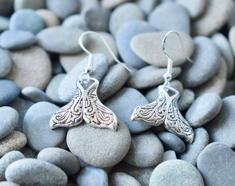 Whale Tail Earrings, Whale Earrings, Dolphin Earrings, Dolphin Take Earrings, Sterling Silver Fishhooks