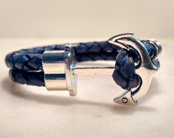 Anchor Bracelet, Silver Anchor Bracelet, Blue Leather Bracelet with Silver Anchor Clasp