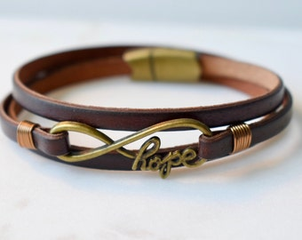 Hope Bracelet, Leather Infinity Bracelet, Inspirational Bracelet Magnetic Clasp