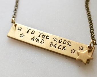 Personalized Necklace, To The Moon and Back Necklace, Personalized Bar Necklace