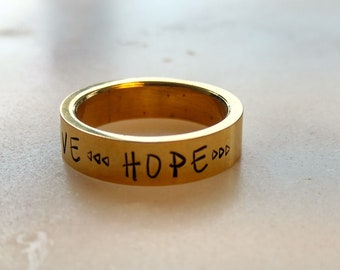 Life Love Hope Ring, Inspirational Ring, Mantra Ring, Stainless Steel Ring