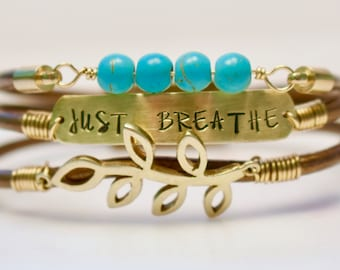 Just Breathe Bracelet, Leather and Turquoise Bracelet, Leather and Pearl Bracelet, Personalized Bracelet, Mantra Bracelet