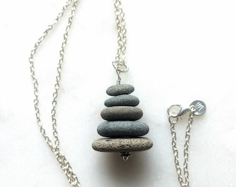 Rock Stack Necklace, Cairn Necklace, Stacked Rock Necklace, Beach Stone Necklace, Pebble Necklace, Beach Necklace, Ocean Necklace