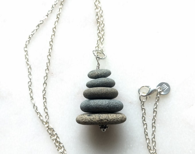 Featured listing image: Rock Stack Necklace, Cairn Necklace, Stacked Rock Necklace, Beach Stone Necklace, Pebble Necklace, Beach Necklace, Rock Necklace