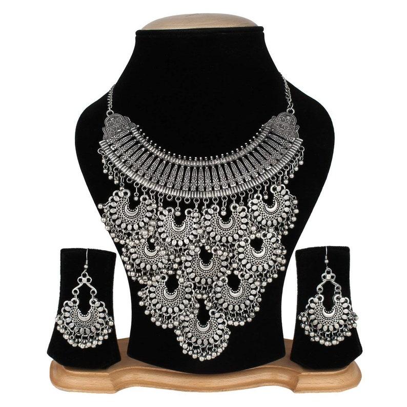 Indian Women Silver Oxidized Peacock Necklace Set Fashion Jewelry Bihu Trible Fashion Jewellery Jewellery & Watches
