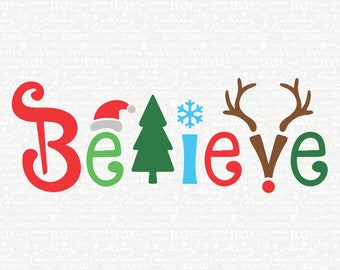 Believe with santa hat svg | Etsy