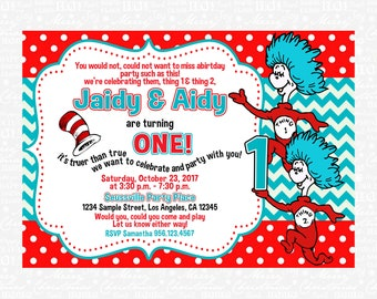 Dr Seuss Invitation Birthday Cat In The Hat Christmas Thing 1 2 Party Theme 8