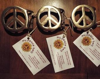 Handmade Vintage Style Brass Peace Sign Belt Buckle