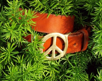 Handmade Chestnut Leather Belt with Brass Peace Sign Buckle